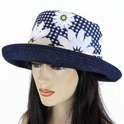 112 Sunblocker UV summer hat sun hat featuring navy based colourful gingham and daisies