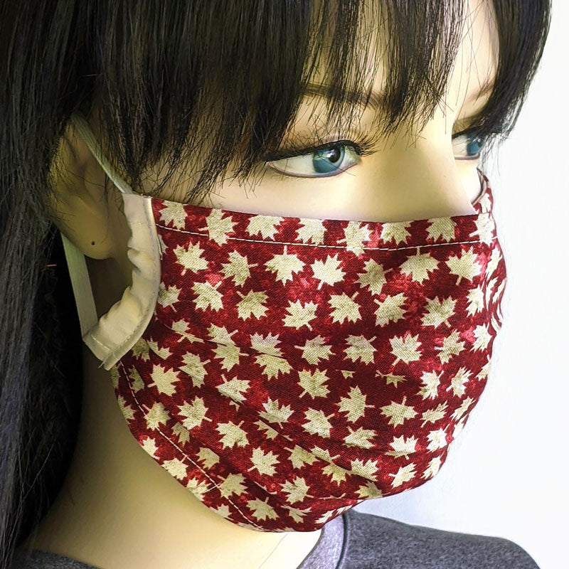 3 layer pleated folding style fabric face mask, Canada dark red and natural maple leaves, one size