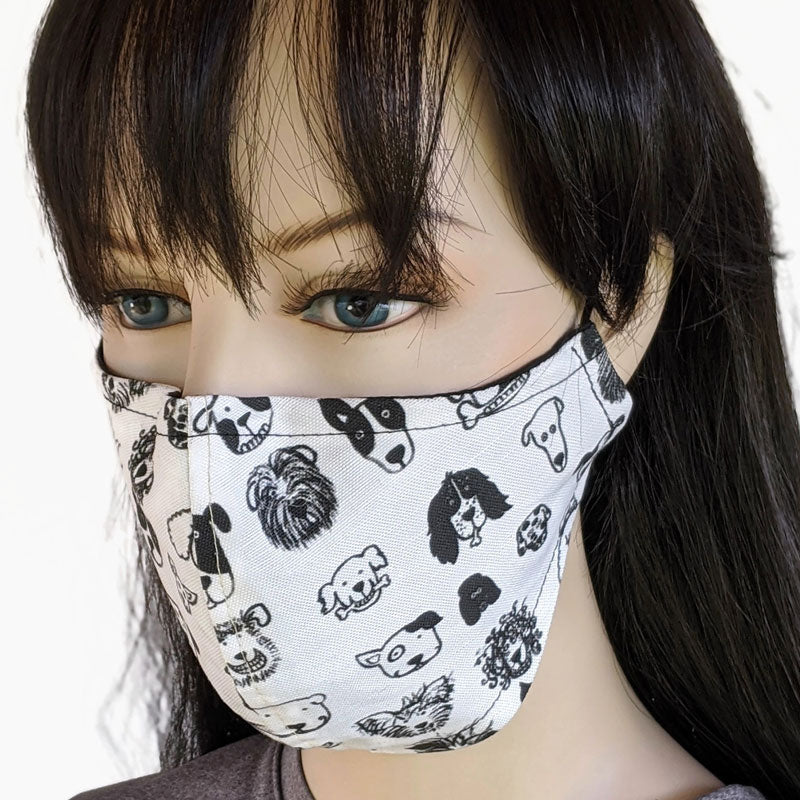 Cotton linen Fabric face mask, with poly cotton lining, doggie faces