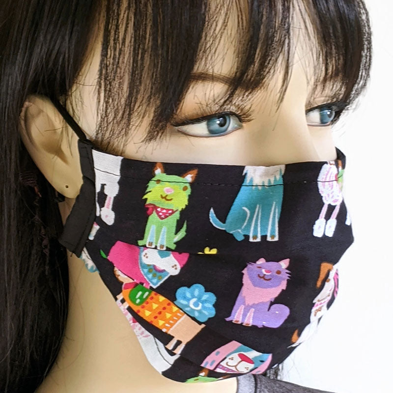 3 layer pleated folding style fabric face mask, dogs and cats, adult and youth size