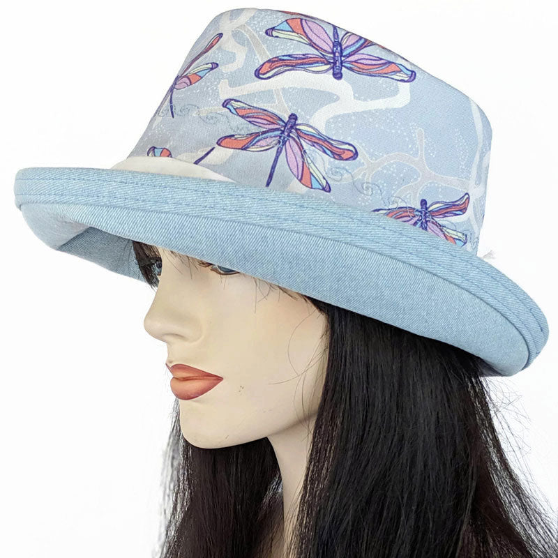 105 Sunblocker UV summer sun hat featuring gorgeous dragonfly print