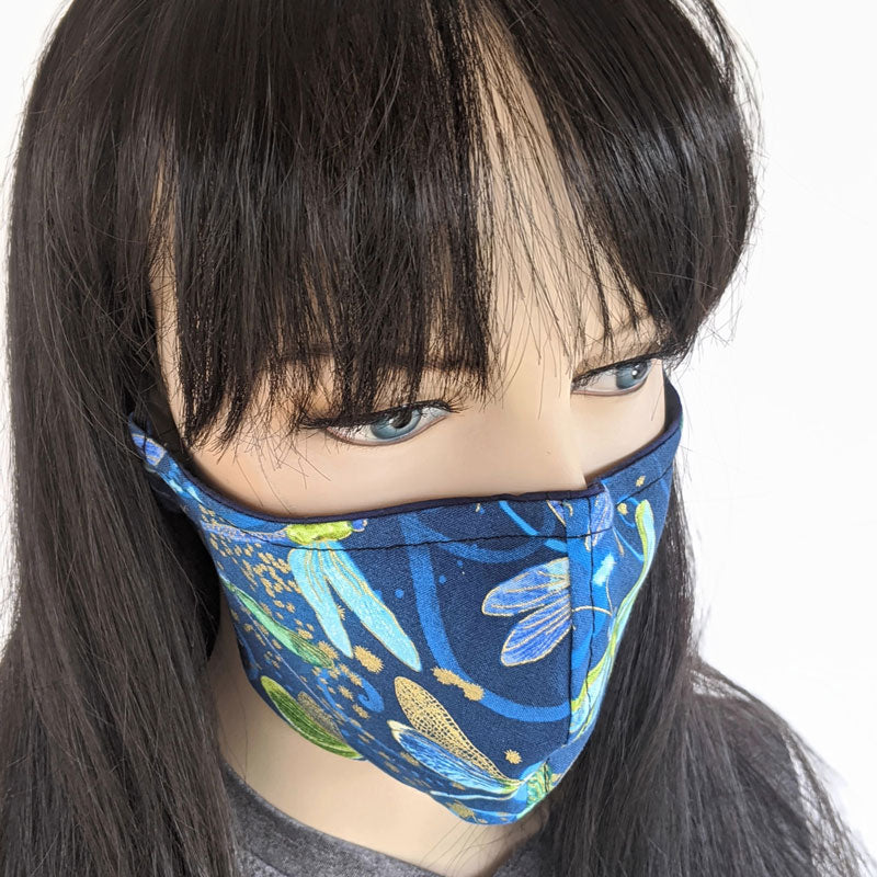 Fabric face mask, dragonflies in blue, regular adult size