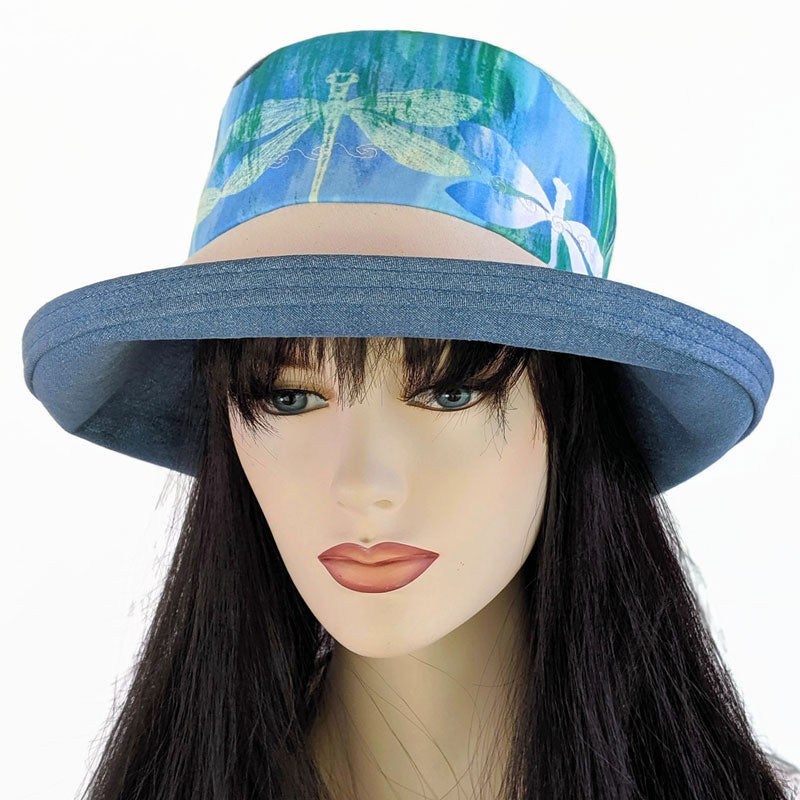 125 Sunblocker UV summer hat cotton sun hat featuring blue dragonflies