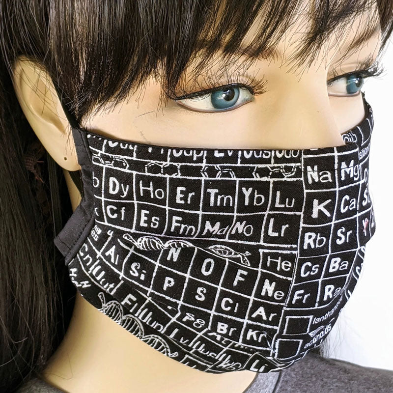 3 layer pleated folding style fabric face mask, elements in black and white, one size