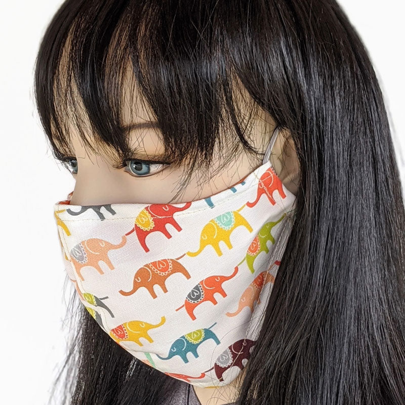 Cotton Fabric face mask, 3 layers, with poly cotton lining, elephants on parade