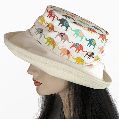 111 Sunblocker UV summer hat sun hat with large wide brim featuring elephants on parade