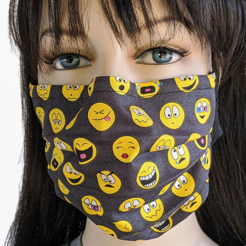 3 layer pleated folding style fabric face mask, expressing yourself with emojis, one size