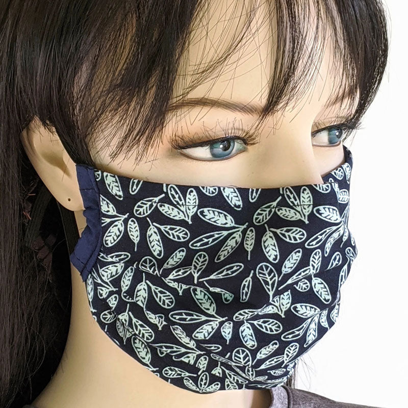 3 layer pleated folding style fabric face mask, featuring feathers in dark navy, one size