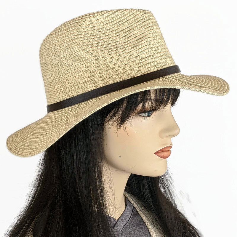 216 Large Brim fedora in natural with belt trim