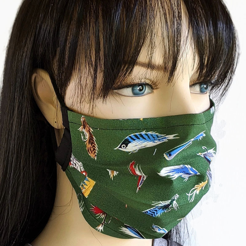 3 layer pleated folding style fabric face mask, featuring forest green based fishing lures, one size