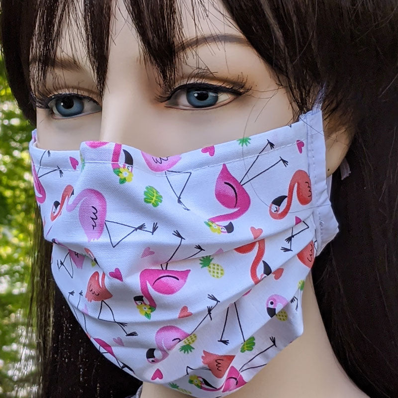 3 layer pleated folding style fabric face mask, flamingos on white, one size