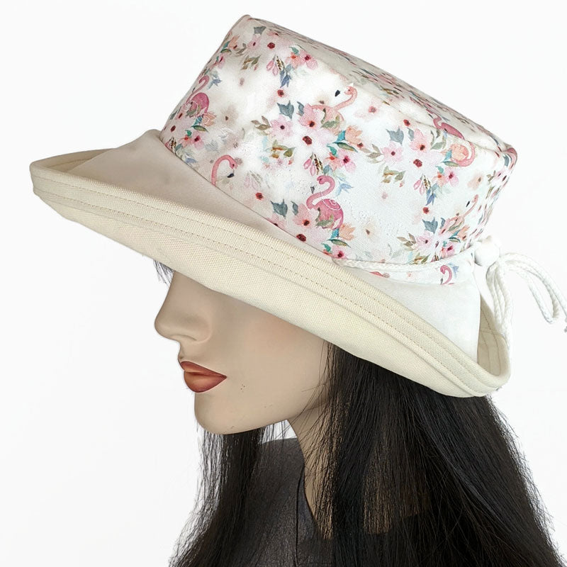 135 Sunblocker UV summer sun hat with large wide brim featuring flamingos  print