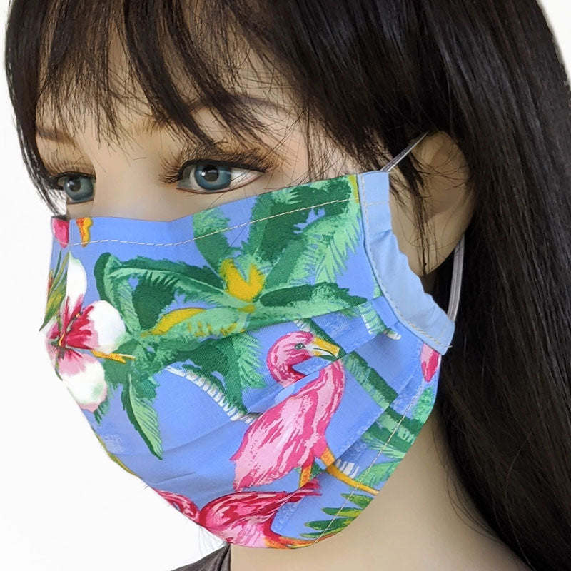 3 layer pleated folding style fabric face mask, tropical flamingos, one size