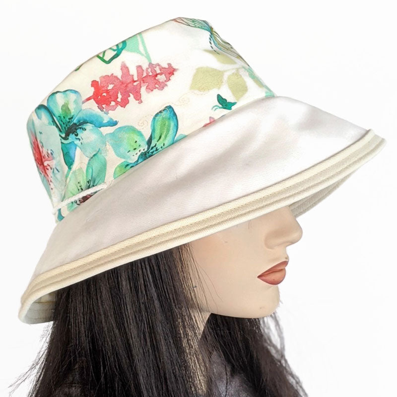 124 Sunblocker UV summer hat cotton sun hat featuring floral print with dragonflies