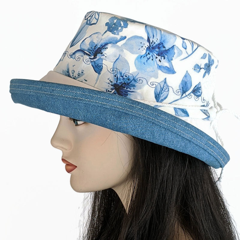 124b Sunblocker UV summer hat cotton sun hat featuring floral print with dragonflies