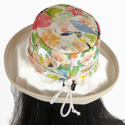 110 Sunblocker UV summer sun hat with large wide brim with floral watercolour inspired print