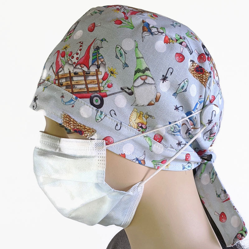 Cotton scrub cap, elastic and tie fit, mask elastic built in buttons, unisex, gnomeville