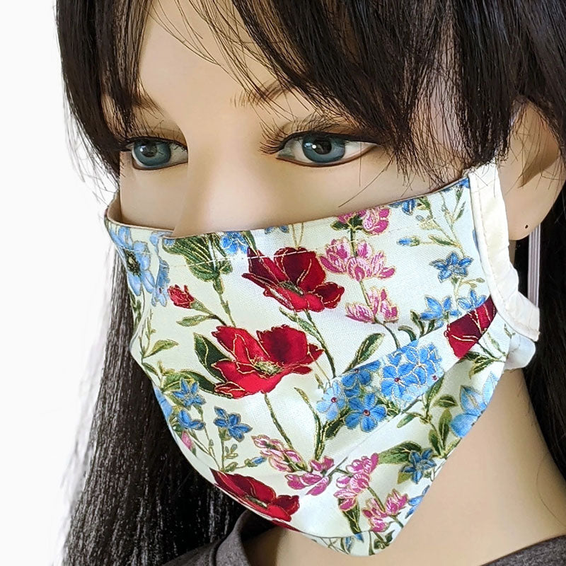3 layer pleated folding style fabric face mask, featuring gorgeous floral with gold outlines, one size
