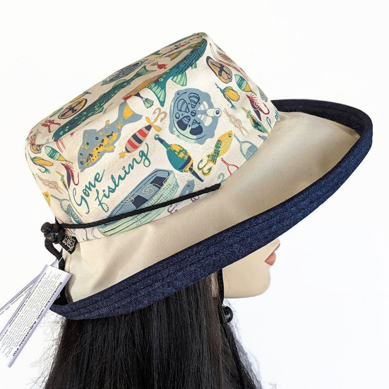 130 Sunblocker UV summer hat cotton sun hat featuring gone fishing print