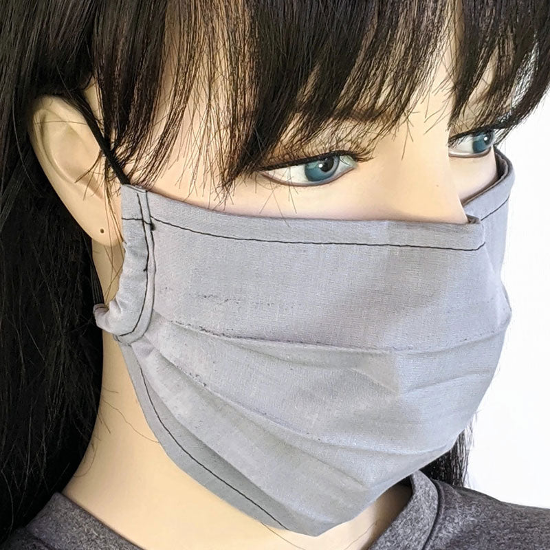 Accordion pleated fold style fabric face mask, 3 layers, light grey, one size