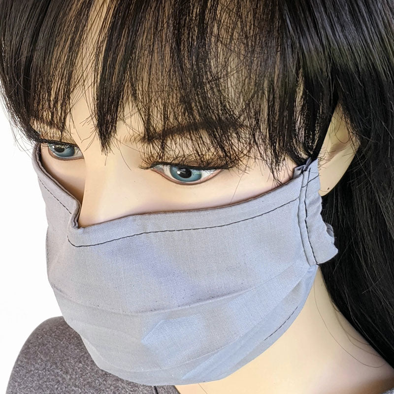 3 layer pleated folding style fabric face mask, light grey, one size