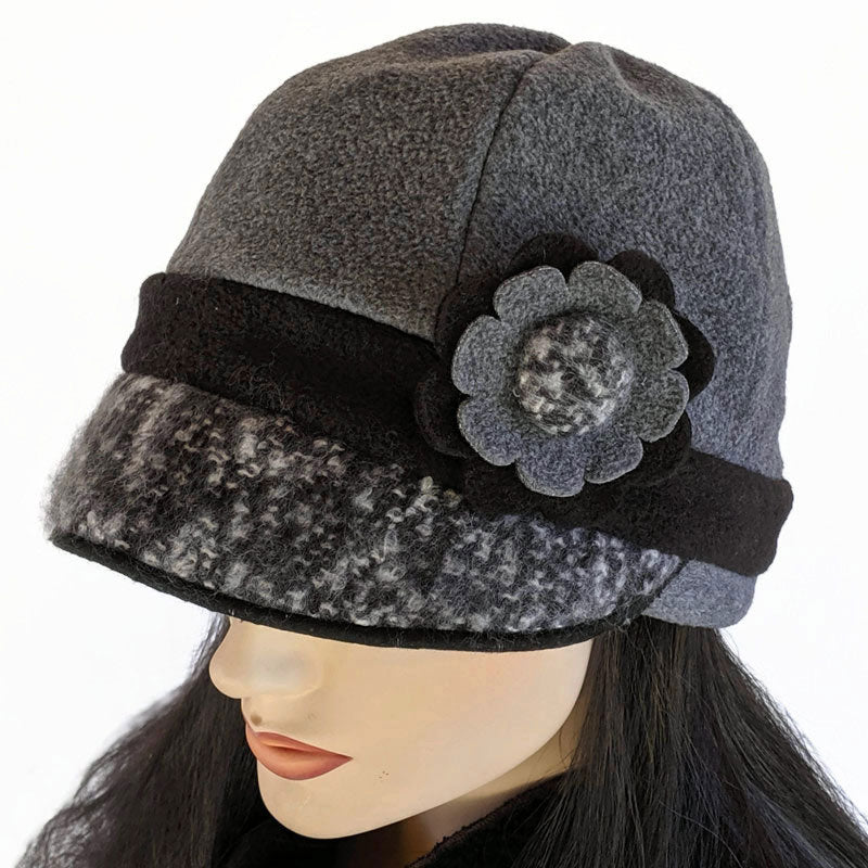 Fleece Cap with boucle visor trim and funky flower in Charcoal and Black