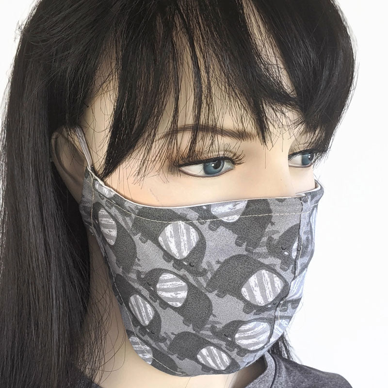 3 layer fabric face mask, grey elephant print, regular adult size and small adult youth