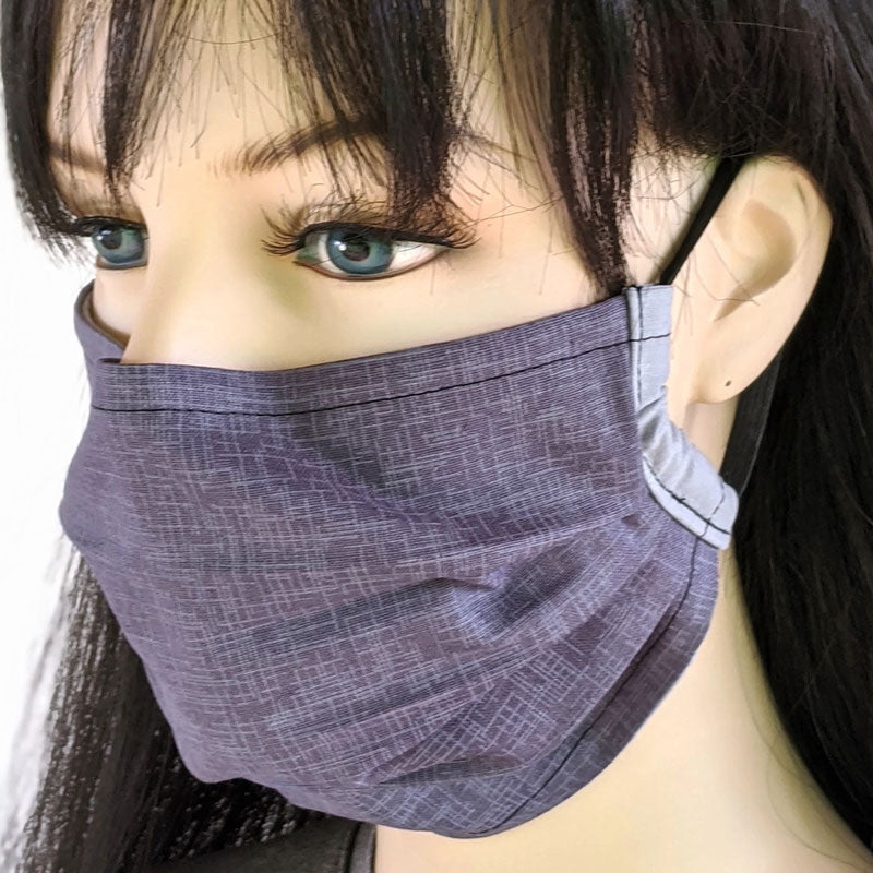 3 layer pleated folding style fabric face mask, charcoal and grey crosshatch lines, one size