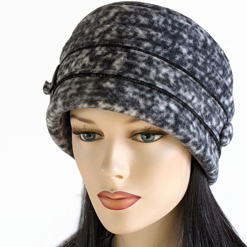 Big Button toque with ear saver buttons, cream, grey and black tweed
