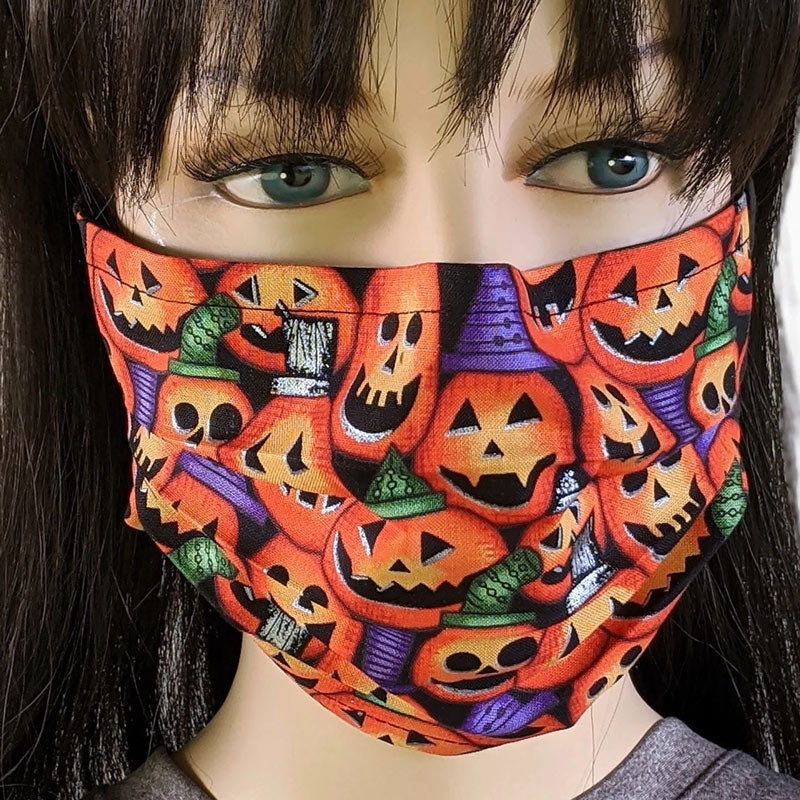 Halloween Collection, 3 layer pleated folding style fabric face mask, assorted prints