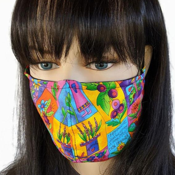 3 layer fabric face mask, bright garden theme, regular adult size and small adult youth size