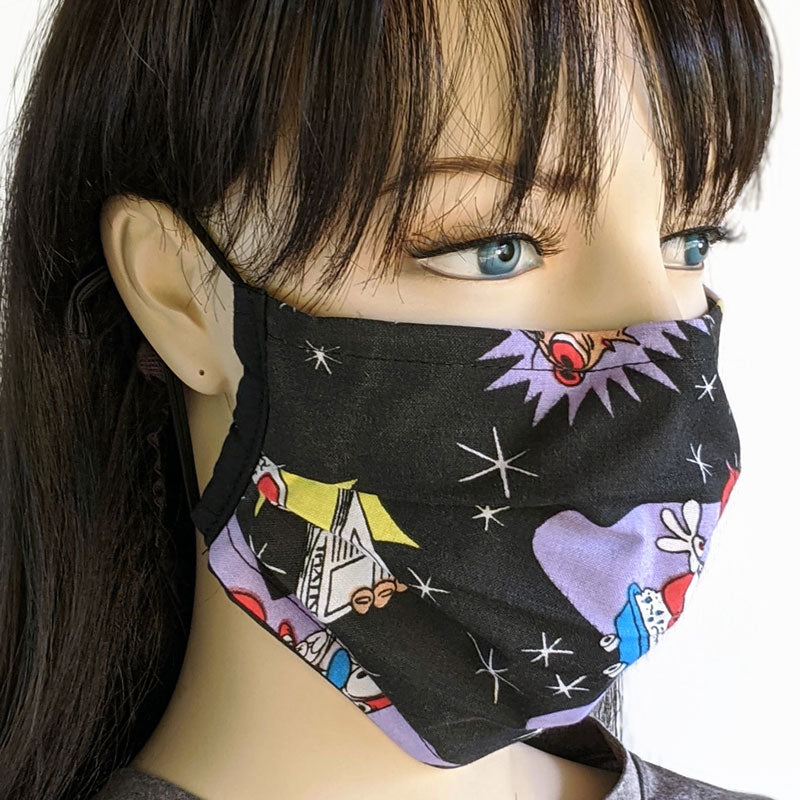 3 layer pleated folding style fabric face mask, celebrating happy happy joy joy, one size