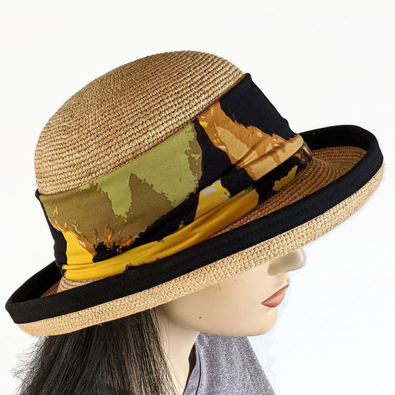201-1a Raffia Straw sun hat with finished edge, adjustable fit, removable headband