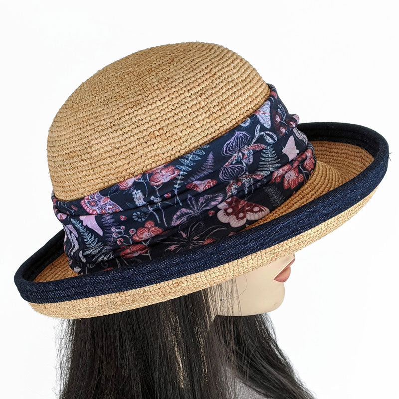 201-8 Raffia Straw sun hat with indigo finished edge, adjustable fit, removable headband
