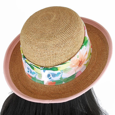 201-6 Raffia Straw sun hat with pink finished edge, adjustable fit, removable headband