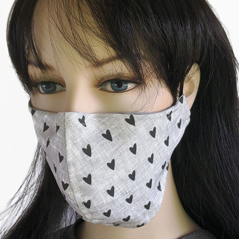 Three layer Fabric face mask, with poly cotton lining, hearts on grey
