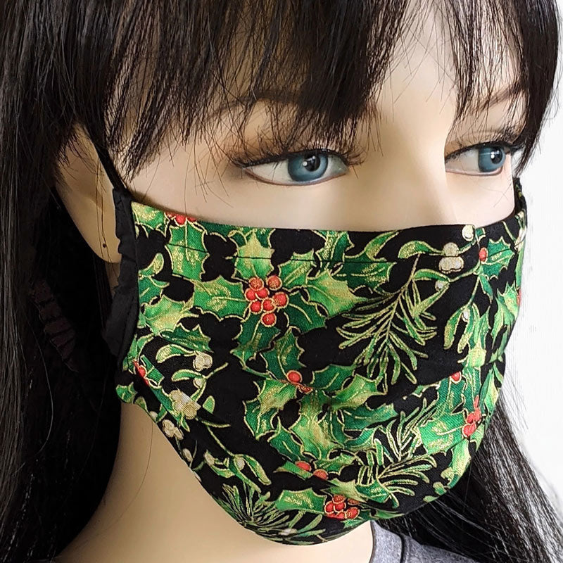 3 layer pleated folding style fabric face mask, beautiful holly, one size