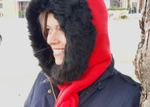 Cosy warm winter hat hoodie scarf Neckwarmer in premium red fleece with black faux fur