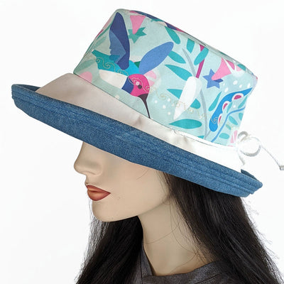 120 Sunblocker UV summer hat sun hat featuring hummingbird print