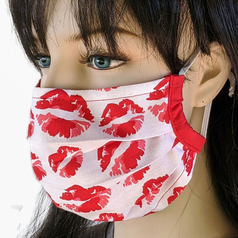 3 layer pleated folding style fabric face mask, lips and kisses, valentines, one size