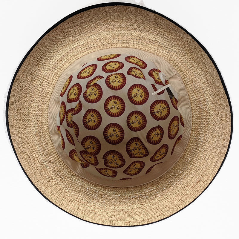 201-3 Raffia Straw sun hat with finished edge, adjustable fit, removable headband