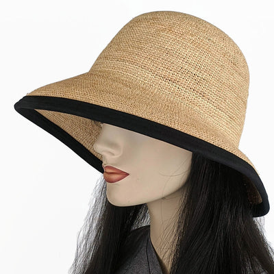201-4 Raffia Straw sun hat with finished edge, adjustable fit, removable headband