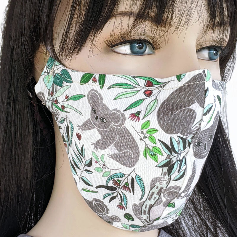 Cotton linen Fabric face mask, with poly cotton lining, koalas on white