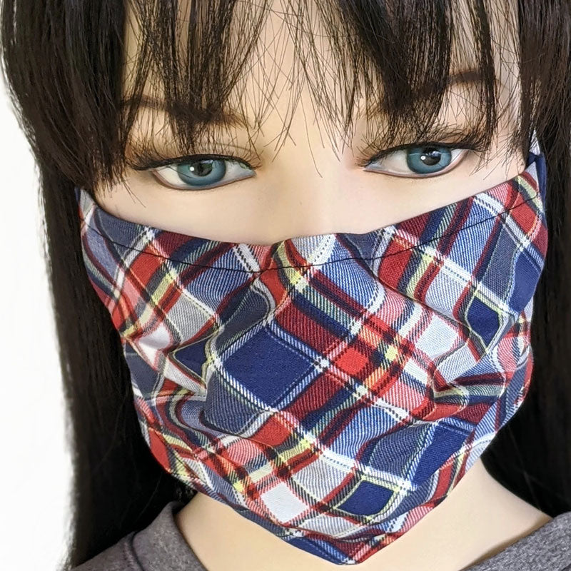 3 layer pleated folding style fabric face mask, mad for plaid, one size