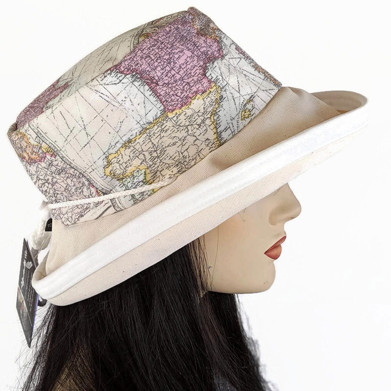 114 Sunblocker UV summer hat sun hat with large wide brim featuring map of the world