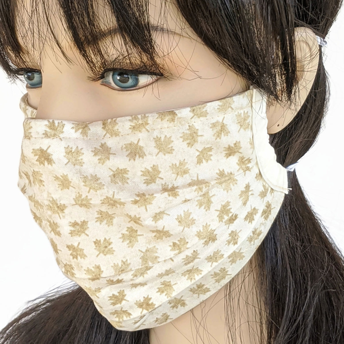 3 layer pleated folded style fabric face mask, golden Canada maple leaves, one size