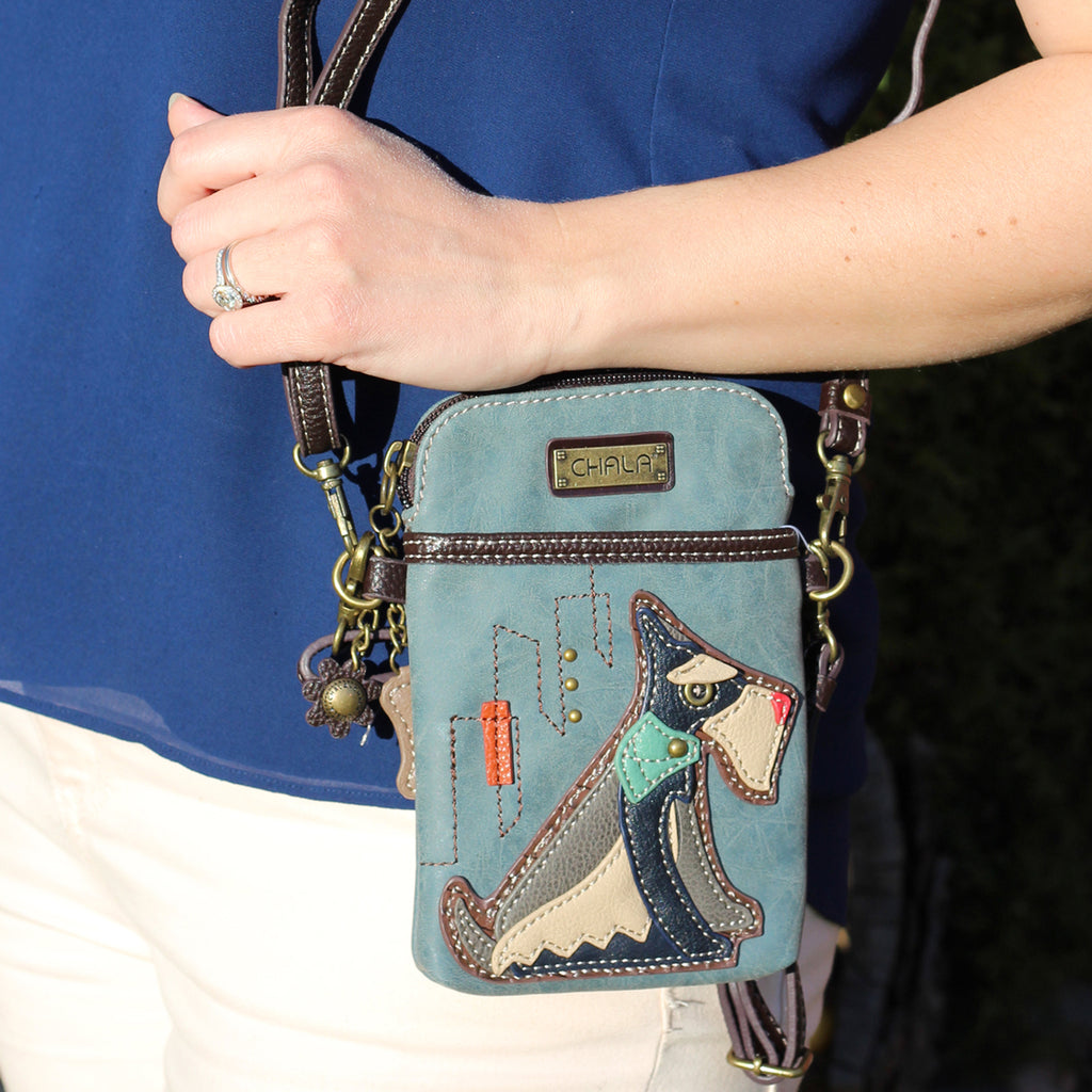 500 Mini cross body cell phone purse with 2 adjustable straps featuring Schnauzer appliqué