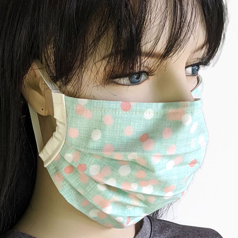 3 layer pleated folding style fabric face mask, mint peach and pink dots, one size