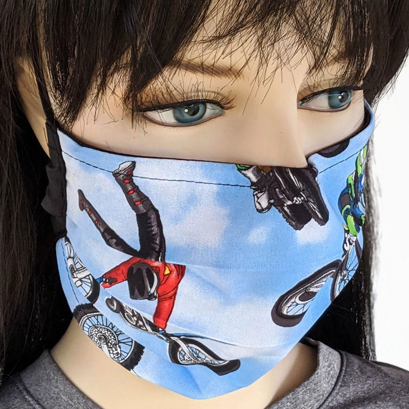 3 layer pleated folding style fabric face mask, motocross riders, one size