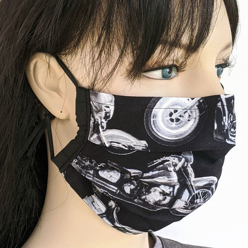 3 layer pleated fold style fabric face mask, motorcyles, one size